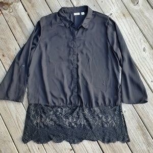 Cato black lace bottom sheer blouse